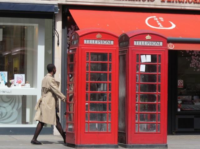 Cast iron English telephone box.