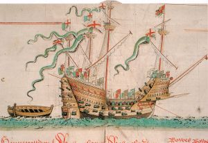 The Mary Rose as depicted in the Anthony Roll.    The image has been identified as being free of known restrictions under copyright law.