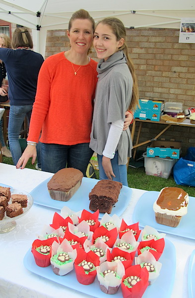 Our hosts Gill and Jessica at their cake stall.