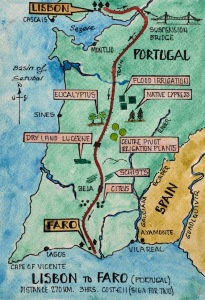 Map showing the train journey from Lisbon to Faro.