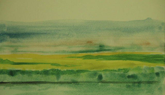 A quick early morning watercolour landscape from the train on the way to Lisbon.