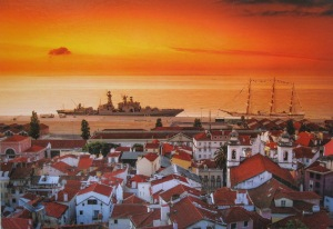 A postcard image across the bay from Lisbon town. Nuno trindade