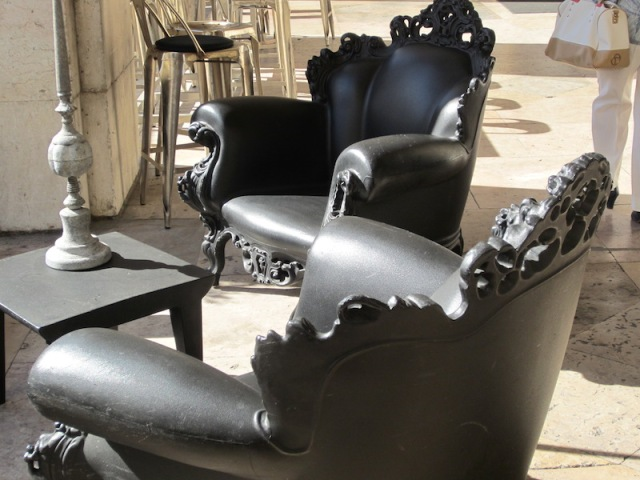 A closeup look at the plastic armchairs