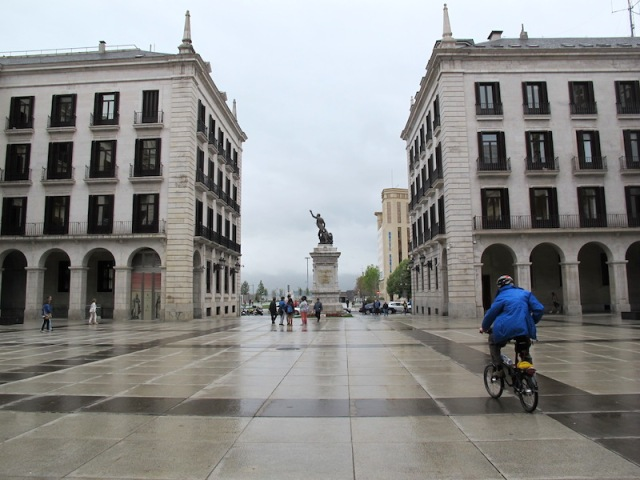 The Plaza Porticada on a wet day.