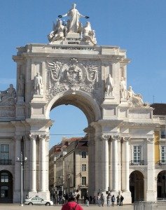 The Triumphal Arch at the entrance to the commercial district of Lisbon