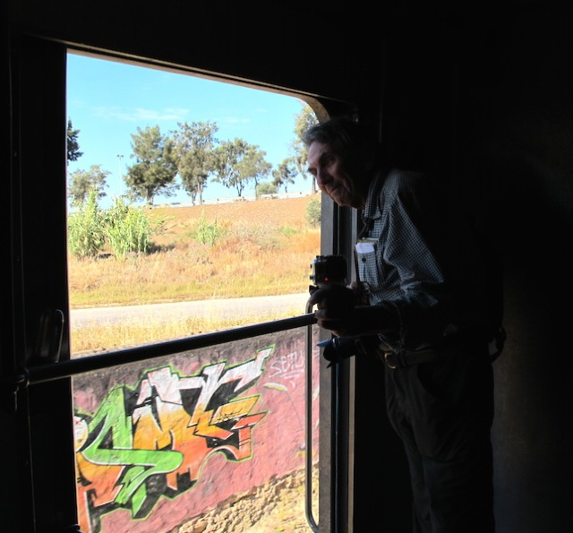 Standing by the open door. It's years since I have been able to be as free as this on a train.