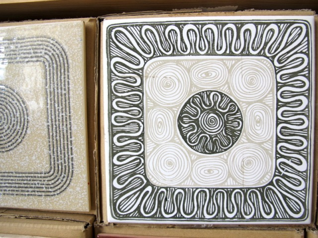 Closeup of one of the thousands of tile designs in the Cortico & Netos tile shop.