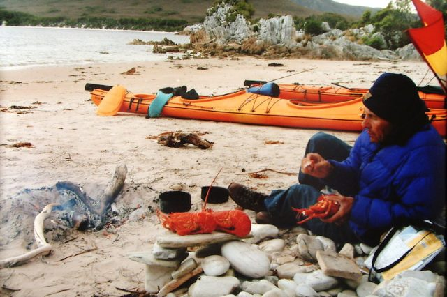 Having a lobster breakfast on the beach near where we were camped when the Indonesian tsunami struck the shore of southwest Tasmania.