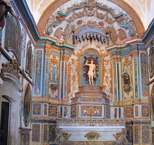 The spectacular painted decoration on wooden walls inside San Sebastian church.  If a building like this was destroyed how could it ever be replaced.