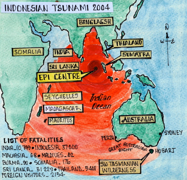 Map showing the epicentre of the 2004 earhquake off Sumatra.