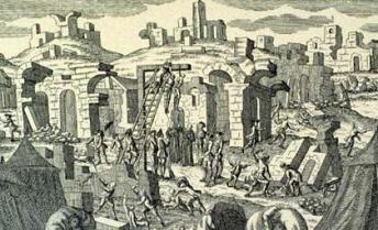 A copperplate engraving showing persons being hanged after the Lisbon earthquake.  Image in the public domain, transferred from Wikipedia.