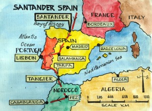 Map showing Santander's place and our proposed route to Morocco. Our route is indicated by the red line with arrowheads.