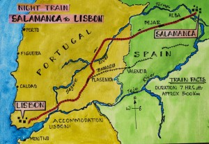 Map showing the overnight train journey from Salamanca to Lisbon.