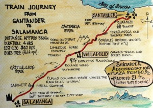 Santander to Salamanca map. I have made this map somewhat geographical and botanical.