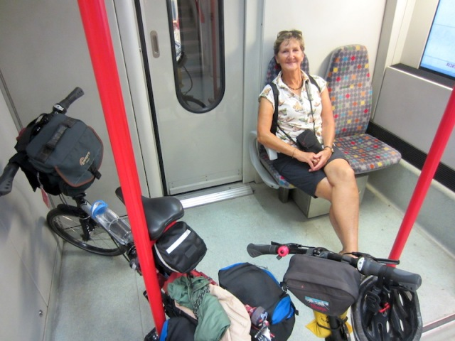 On the regional train. The regional trains happily cater for cyclists.