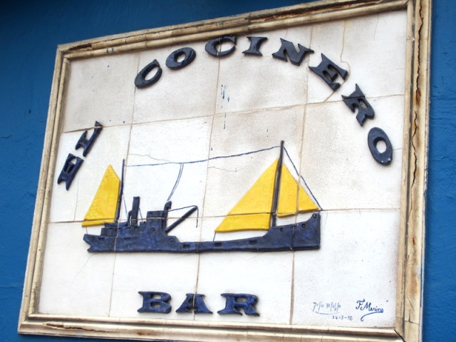 The tiled El Cocinero Bar sign on the terrace house that refused to budge.