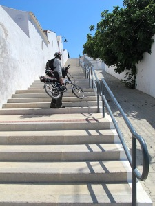 Cyclist's nightmare.  I didn't actually carry my bike up these steps. I posed here so I could show you what a cyclist's nightmare is.