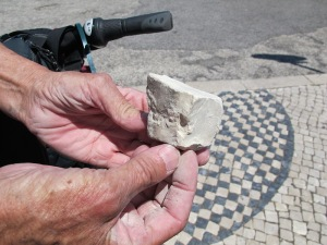 A raw unpolished sett measuring about 65mm x 65mm