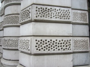 Ornate stippling on the corner of the bank.
