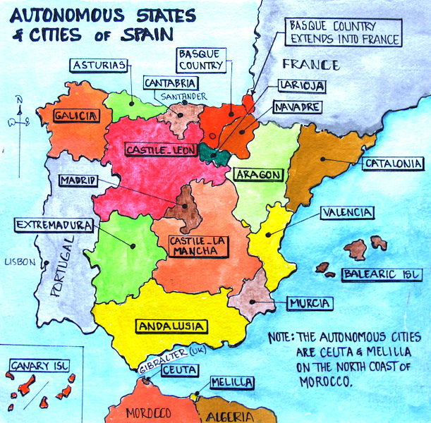 Autonomous states and cities of Spain.