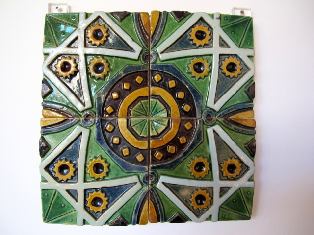 Beautiful glazed bas relief wall tile.