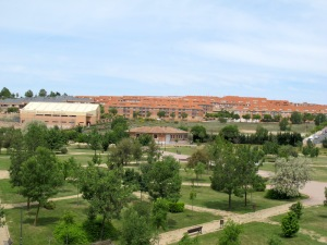 The bland apartment buildings of Salamanca.