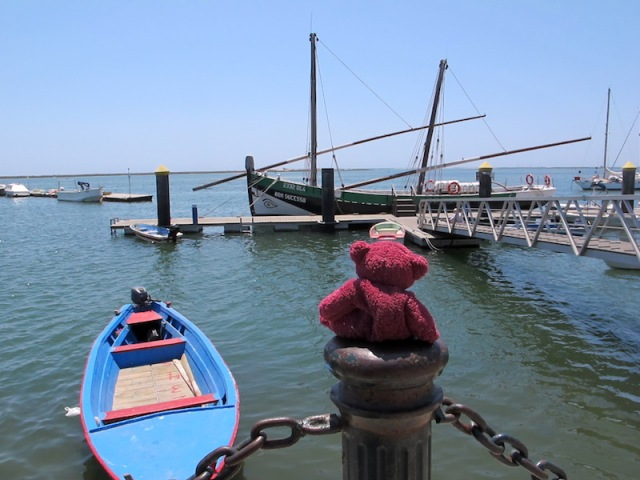 BBear longing to get off the handlebars of my bike and go to sea. Both boats in this photograph are traditional vessels of the area.