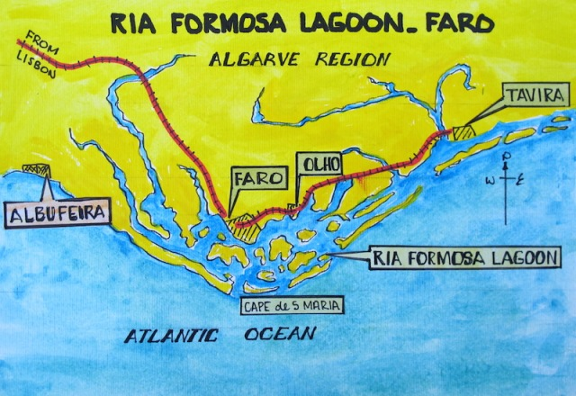 Map showing the Ria Formosa Lagoon and the towns of Faro, Albufeira, Olho, and Tavira, the latter two we visited.