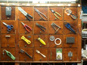 The inside walls of the hardware shop were lined with hundreds of drawers like these.