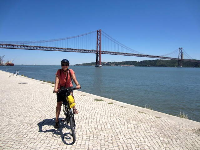 The 25th of April suspension bridge across the Tagus River Lisbon. Even at this distance the drone of traffic could be heard.