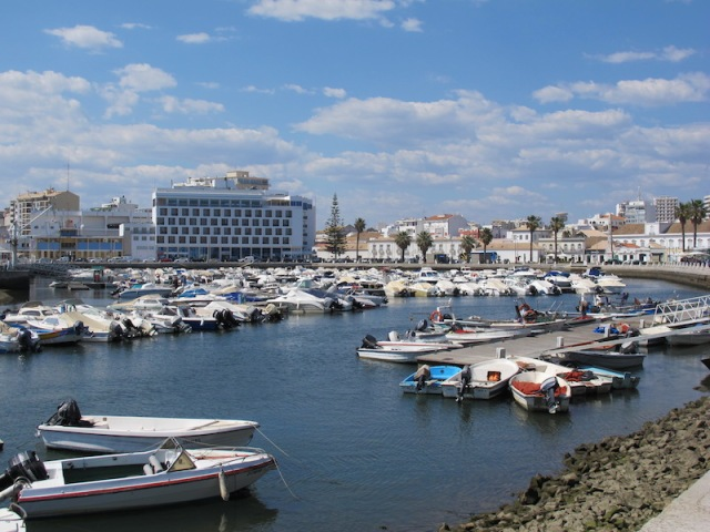 Faro marina in foreground and the part of the old town.