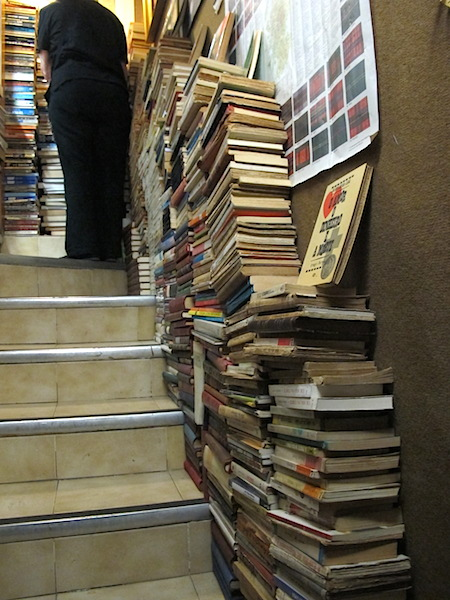 Books on stairs.