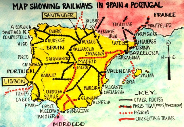 Train route options in Spain and Portugal, Faro in the far south.
