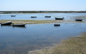 Boats at rest on the Rio Formosa lagoon at Faro