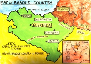 Basque Country green (Spain) and brown (France).