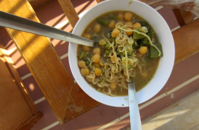 Chickpea and vegetable soup from the bathroom kitchen. It might not look Cordon Bleu but it tasted good. This meal cost around $1-00 to prepare, not bad for two persons.