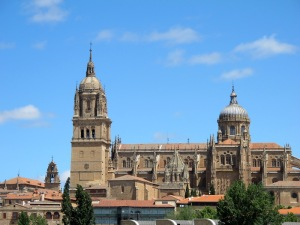 Salamanca's cathedrals.  The two towers do not belong to the same church: the one on the left is that of the New Cathedral and the other the tower of the Old Cathedral.