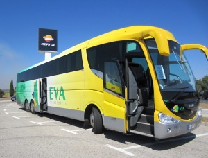The yellow monster bus. It's a bus, not a coach because coaches have a toilet and a bus does not.