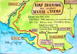 1 map Seville to Tarifa