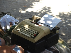 The typewriter still working and capable of converting thoughts into words.