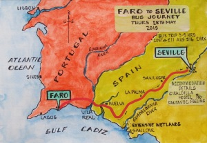 Map showing the route from Faro to Seville.