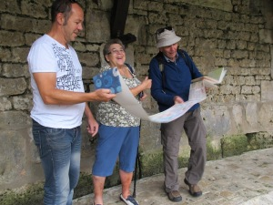 The couple in Tonnerre France who were very impressed with the concertina diary I was keeping.