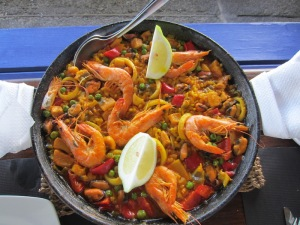 Paella, the national dish of Spain, served at the camping area restaurant.