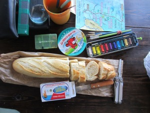 My art gear mixed with a simple lunch of bread, cheese and Tarifa canned sardines.