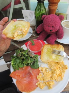 BBear about to indulge in breakfast - scrambled eggs, salmon and salad.  In the small glass bowl is tomato puree used as a spread on toast.