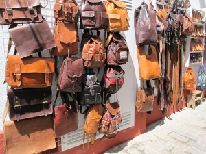 Some of the beautiful leather goods for sale.