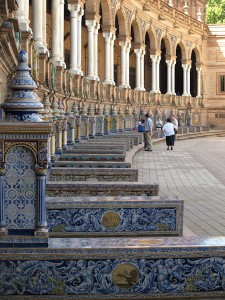 Front colonnade detail. In each of the nooks there is a tile map of Spain's autonomous regions.