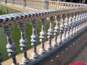Ceramic handrail around the moat.