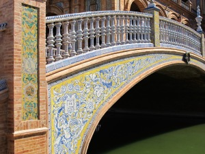 Bridge over the moat. There are four such bridges, each representing the four ancient kingdoms of Spain - Castile, Leon, Aragon and Navarra.