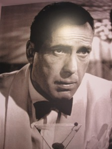 Bogart in the mid WW2 movie Casablanca.  This image of Bogart is in the public domain as it was never copyrighted.